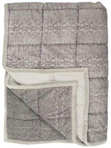 Ib Laursen velour quilt m/ print - Støvet lilla