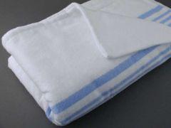 Flonelslagen 150x200 cm - Hvid m/blå striber