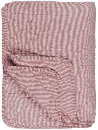 Ib Laursen  quiltet tæppe - Hvide og røde striber
