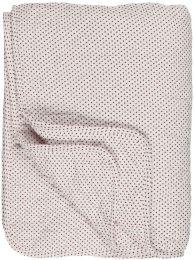 Ib Laursen  quiltet tæppe - Hvid m/røde prikker