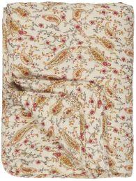 Ib Laursen  quiltet tæppe - Creme m/coral sands og gul paisley