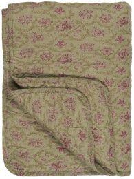 Ib Laursen quiltet tæppe - Oliven m/grøn og cerise blomster