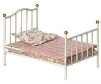Maileg vintage seng, Mus - Råhvid