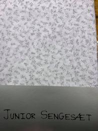 Nørgaard Madsen økologisk juniorsengetøj 100x140 cm - Hvid m/grå blomster