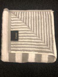 Cawö stribet håndklæde 70x140 - Lys grå/hvid