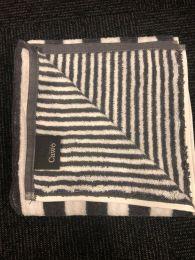 Cawö stribet håndklæde 70x140 - Antracit/hvid