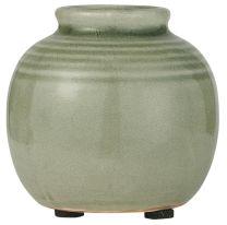 Ib Laursen  vase m/riller mini - krakeleret glasur /sart grøn