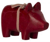 Maileg træ gris lysestage - Rød/ Lille AW2021
