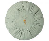 Maileg rund pude D 26 cm - Mint m/broderi