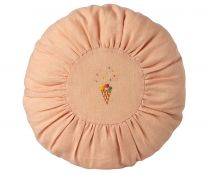 Maileg rund pude D 26 cm - Rosa m/broderi