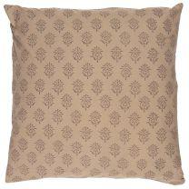 Ib Laursen pyntepude 50x50 cm -Milky brown m/blokmønster