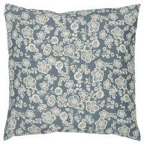 Ib Laursen pyntepude 60x60 cm - Blå m/ cremefarvet blomster