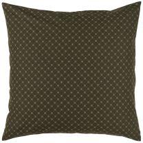Ib Laursen pyntepude 50x50 cm - Mørkebrun m/kobberfarvet mønster