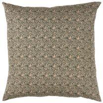 Ib Laursen pyntepude 50x50 cm - Mørkebrun m/beige blomstermønster