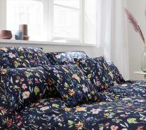 Elegante ´Potpourri´ sengetøj 135x220 - Mørkeblå