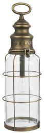 LED-lanterne m/gitter om glasset - Høj/messing