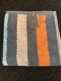 Cawö  ´Heritage stripes´ håndklæde 50x100 cm - Blå/lavendel/brændt orange