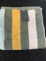 Cawö  ´Heritage stripes´ håndklæde 80x150 cm - Khaki/Karry/grå