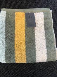 Cawö  ´Heritage stripes´ håndklæde 50x100 cm - Khaki/Karry/grå