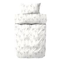 Engholm ´Rivoli´ flonel sengetøj 140x200 cm - Hvid/grå
