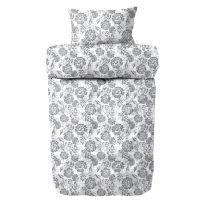Engholm ´Ame´ flonel sengetøj 140x220 cm - Hvid/mørk grå