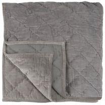 Ib Laursen velour sengetæppe 240x240 cm - Støvet syren/grå