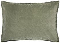 Ib Laursen pyntepude ensfarvet velour 72x52 cm - Oliven