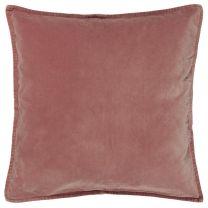 Ib Laursen pyntepude velour ensfarvet 52x52 cm - Faded rose