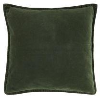 Ib Laursen pyntepude velour ensfarvet 52x52 cm - Mørkegrøn