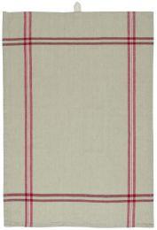 Ib Laursen viskestykke ORGANIC  - Beige m/røde striber langs kanterne