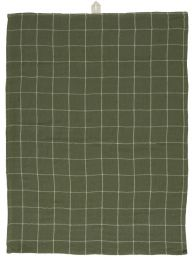 Ib Laursen viskestykke - Oliven m/hvide tern dobbeltvævet