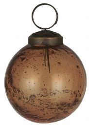 Ib Laursen ´Stillenat´ julekugle 6,5 cm - Amber glas/pebbled
