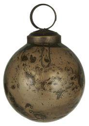 Ib Laursen ´Stillenat´ julekugle 6,5 cm - Chocolate glas/pebbled