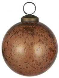 Ib Laursen ´Stillenat´ julekugle 8,3 cm - Amber glas/pebbled
