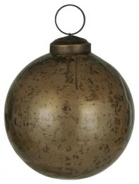 Ib Laursen ´Stillenat´ julekugle 8,3 cm - Chocolate glas/pebbled