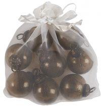 Ib Laursen ´Stillenat´ pose m/8 mini julekugler - Chocolate glas/pebbled