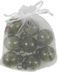 Ib laursen ´Stillenat´ pose m/8 mini julekugler - Mosgrøn glas/pebbled