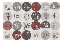 Ib Laursen ark m/24 julekalenderklistermærker 1-24