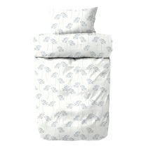Engholm ´Ertiga´ flonel sengetøj 140x200 cm - Hvid/blå