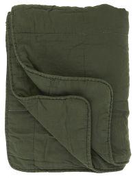 Ib Laursen quiltet tæppe ensfarvet - Mørkegrøn/Forest green