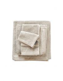 MARC O`POLO ´Timeless tone stripe´ vaskehandske  16x22 cm - Oatmeal/hvid