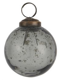 Ib laursen ´Stillenat´ julekugle 6,5 cm - smoke glas/pebbled