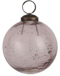 Ib laursen ´Stillenat´ julekugle 8,3 cm - Rosa glas/pebbled