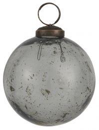 Ib laursen ´Stillenat´ julekugle 8,3 cm - Smoke glas/pebbled