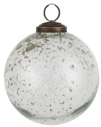 Ib laursen ´Stillenat´ julekugle 10,5 cm - Klar glas/pebbled