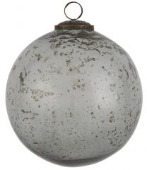 Ib laursen ´Stillenat´ julekugle 15,2 cm - Smoke glas/pebbled