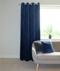 Moflin ´Gemini´ færdigsyet velour gardin 130x220 cm - Blå