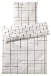 Easy by Elegante Sengetøj ´Simple check´ 135x220 cm - Hvid/sort