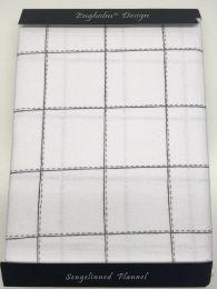 Engholm flonel sengesæt med tern 140x200 cm - Grå/hvid