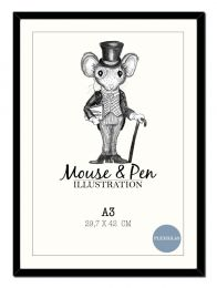 Mouse & Pen ramme - A3 sort m/plexiglas